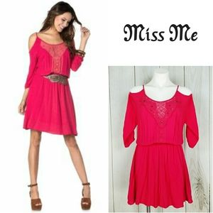 Miss Me Bright Pink Boho Cold Shoulder Mini Dress